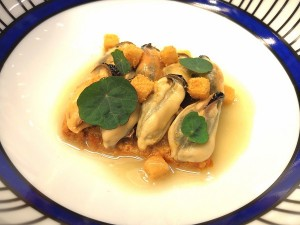 Mussel Soup with Beef Ragout and Pears Candied in Pear Grappa with Almonds