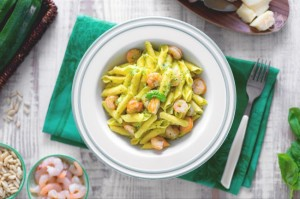 Garganelli with Zucchini Pesto and Shrimps