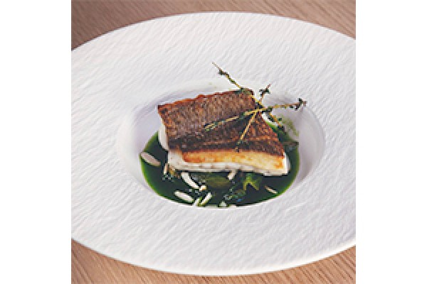 Seared sea bream with thyme, agretti and toasted Avola almonds